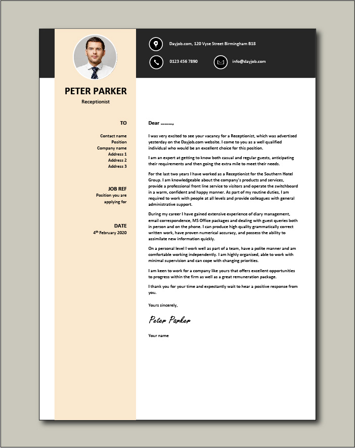 Free Receptionist Cover Letter example 4