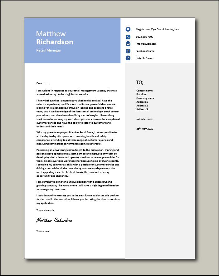Free Retail Manager cover letter 1