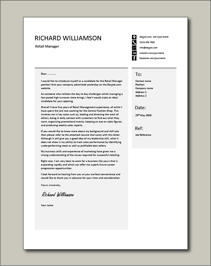 Free Retail Manager cover letter 3