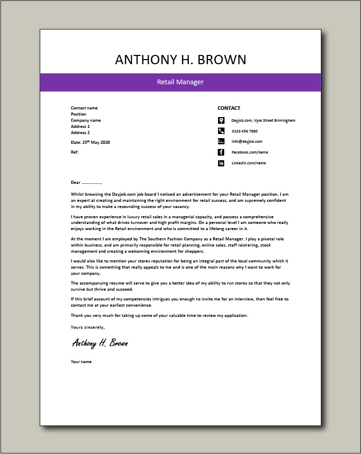 Free Retail Manager cover letter 4