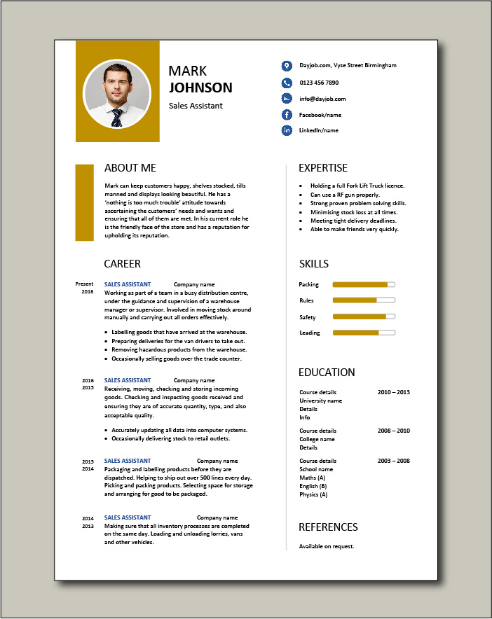 Free Sales Assistant CV template 2