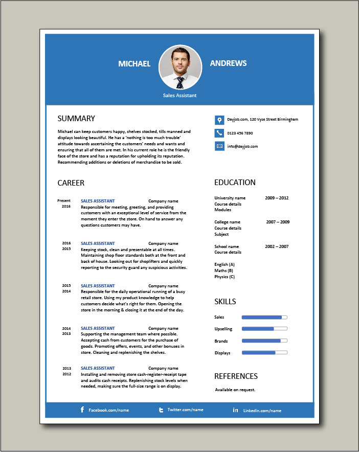 Free Sales Assistant CV template 3