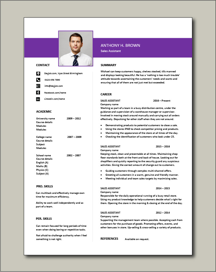 Free Sales Assistant CV template 4