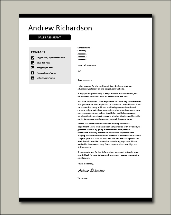Free Sales Assistant cover letter example 1