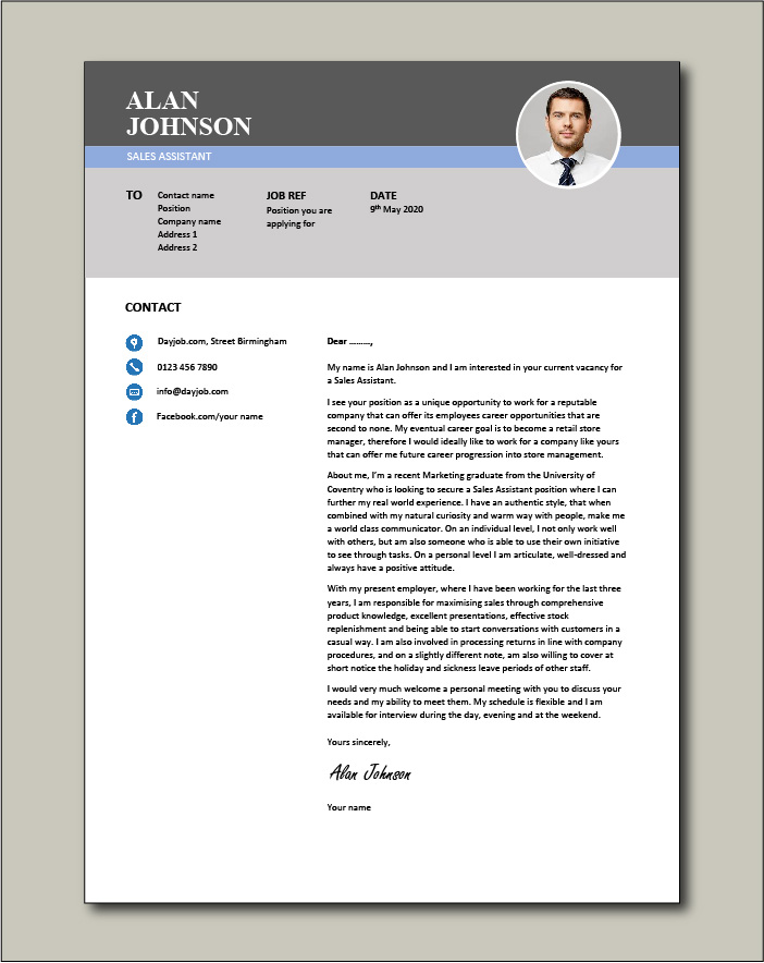 Free Sales Assistant cover letter example 2