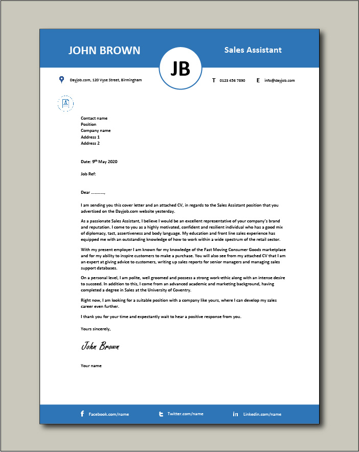 Free Sales Assistant cover letter example 4