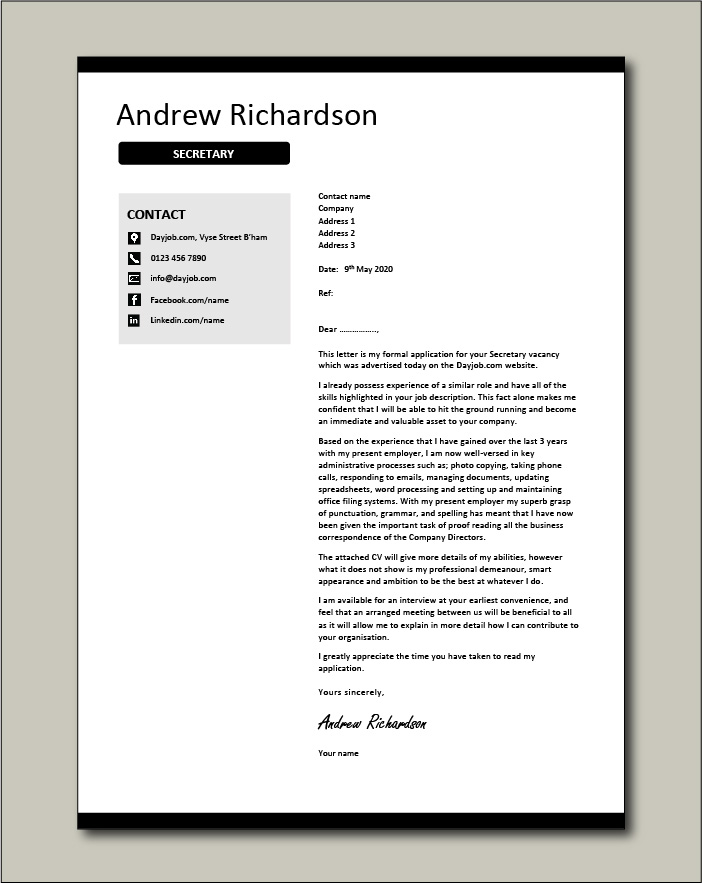 Free Secretary cover letter example 1