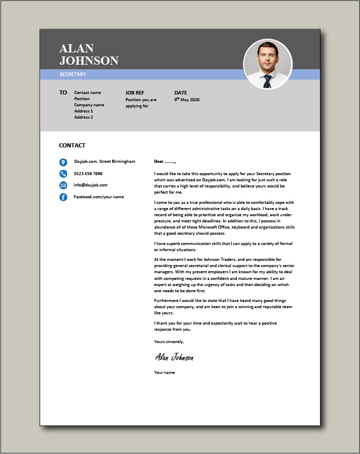 Free Secretary cover letter example 2