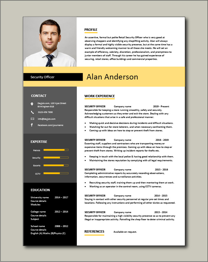 Free Security Officer CV template 1