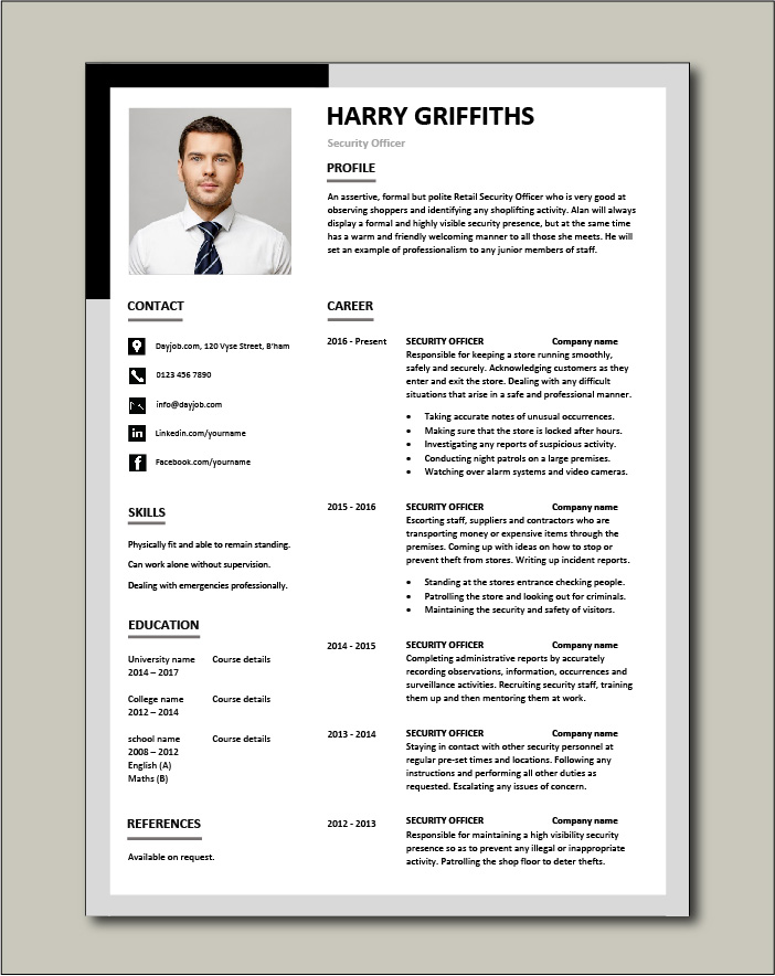 Free Security Officer CV template 3