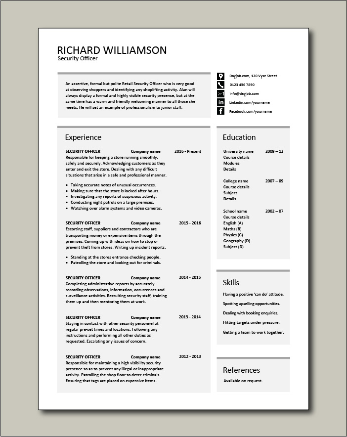 Free Security Officer CV template 4