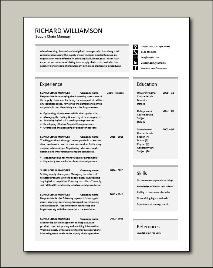 Free Supply Chain Manager CV template 2