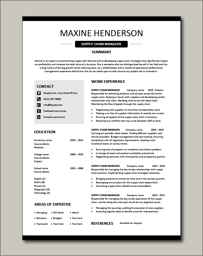 Free Supply Chain Manager CV template 3