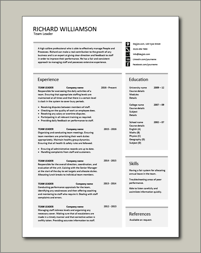 Free Team Leader resume template - 1 page