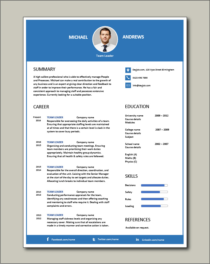 Free Team Leader resume template 3