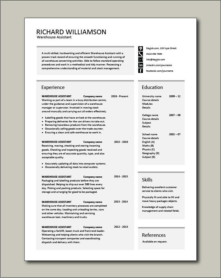 Free Warehouse Assistant CV template 1