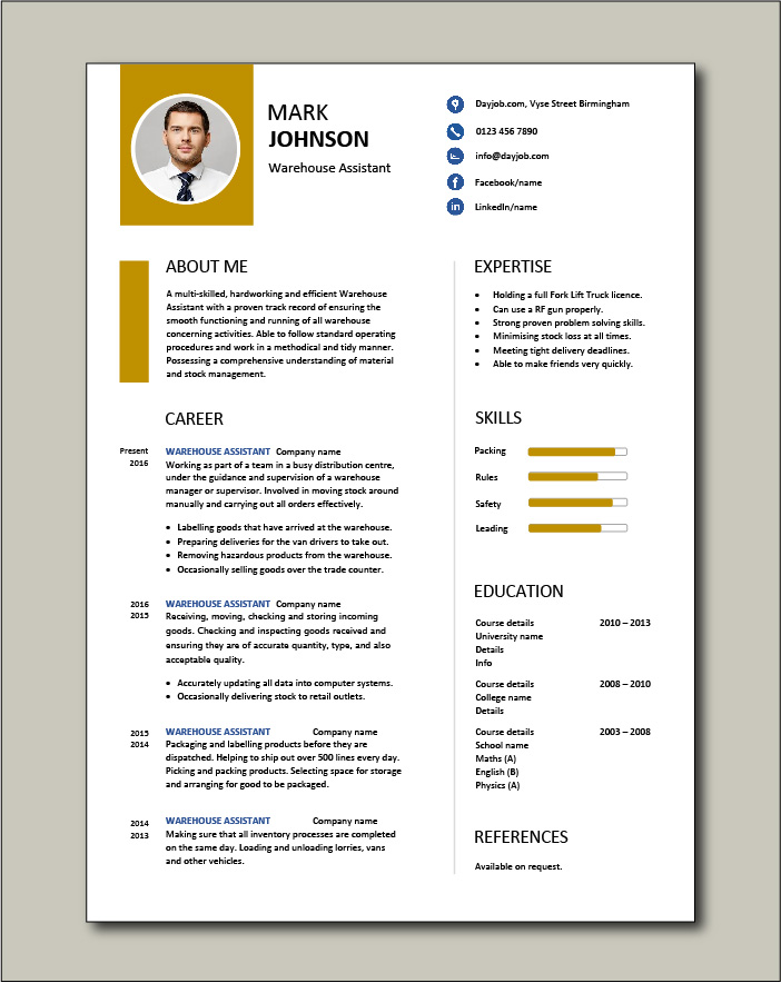 Free Warehouse Assistant CV template 2