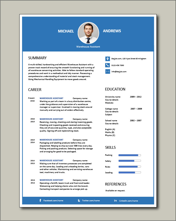 Free Warehouse Assistant CV template 3