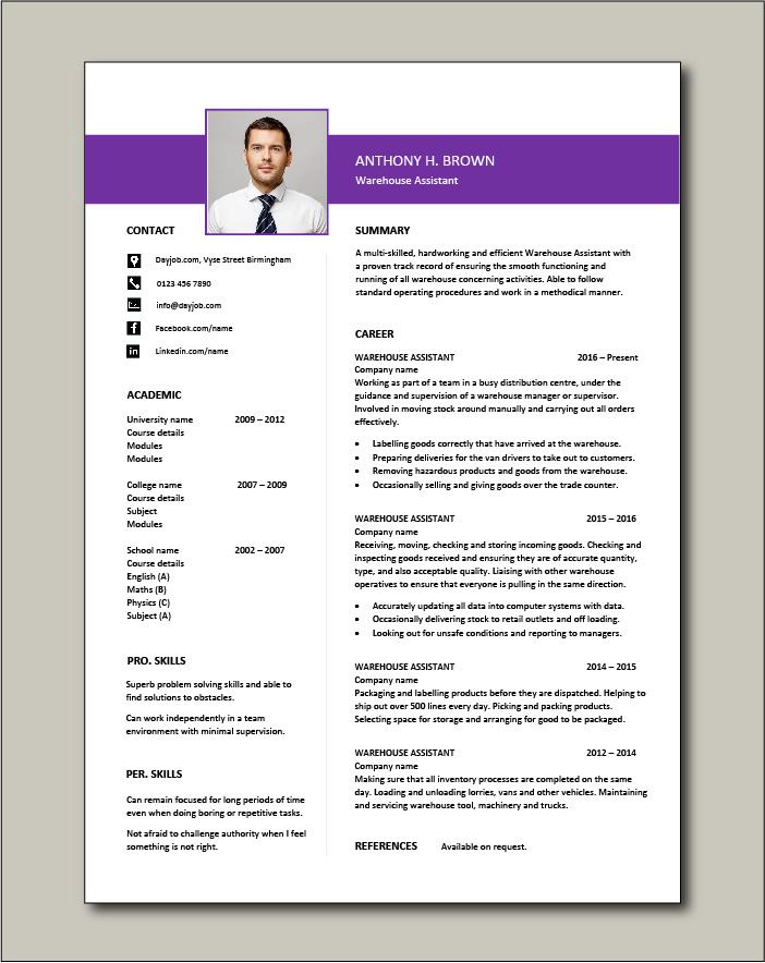 Free Warehouse Assistant CV template 4