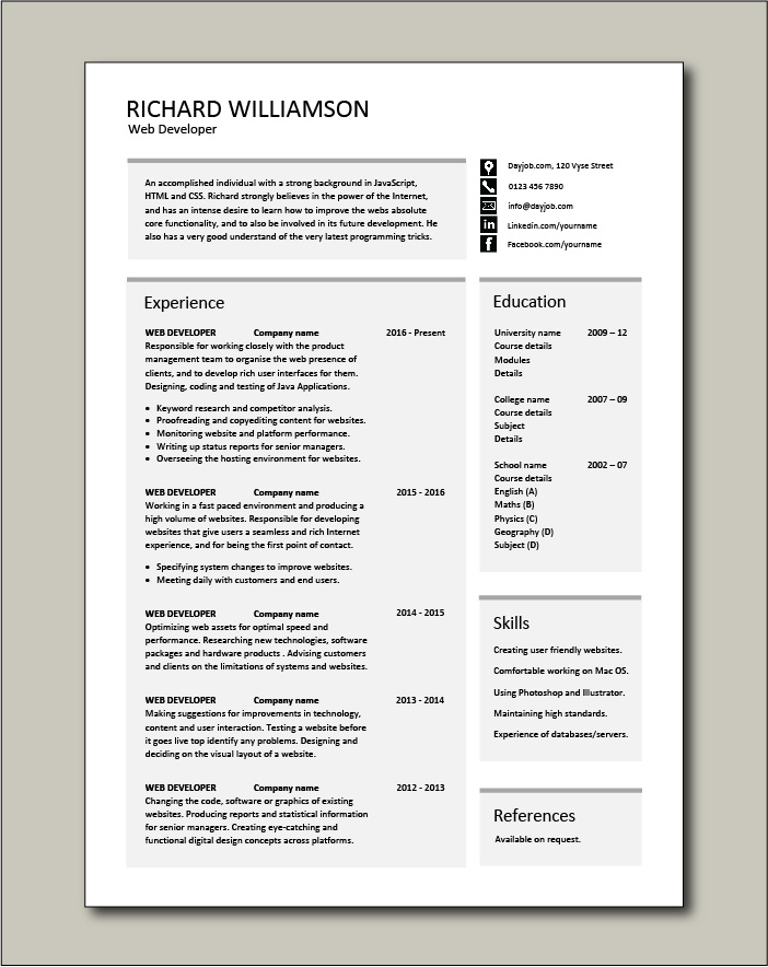 Web Developer Resume Example Cv Designer Template Development Jobs Website Internet