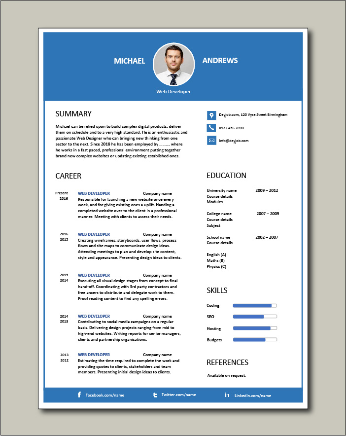 Free Web Developer resume template 4