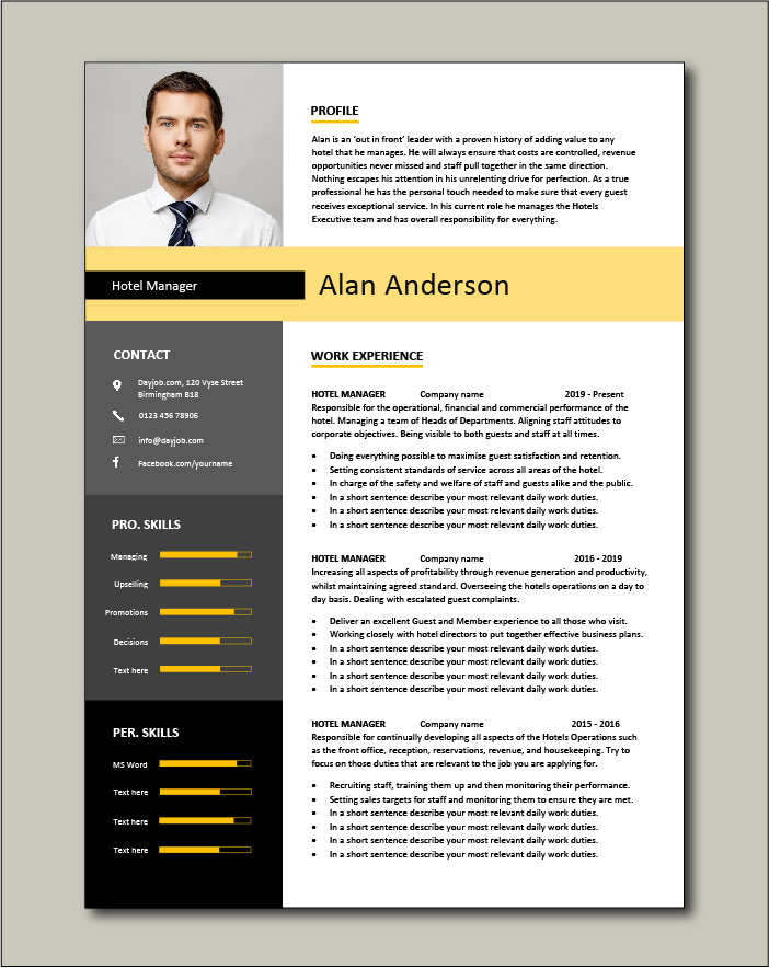 Hotel Manager CV template 1 - 2 page
