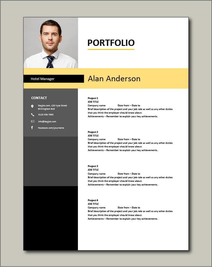 Hotel Manager CV template 1 - Portfolio