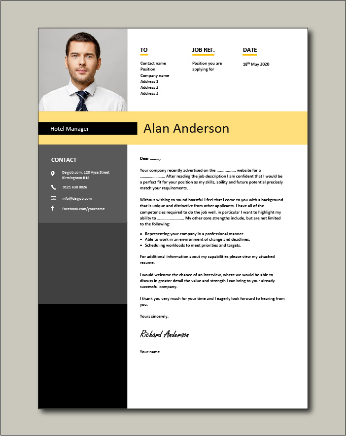 Hotel Manager CV template 1 - cover letter