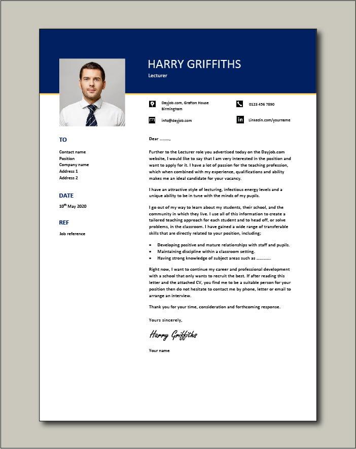 Lecturer CV - Cover letter