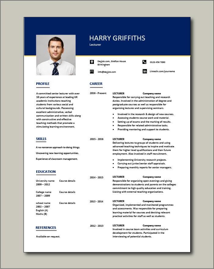 Lecturer CV template 1