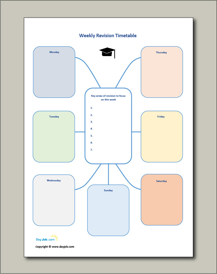 Revision timetable template 10