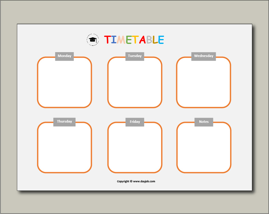 Revision timetable template 12