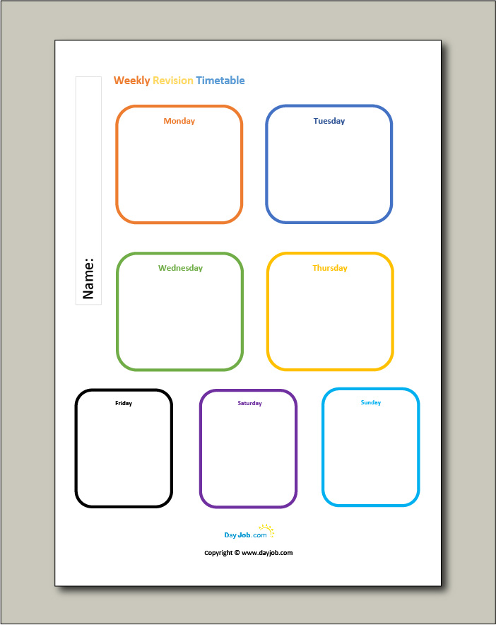 Revision timetable template 7