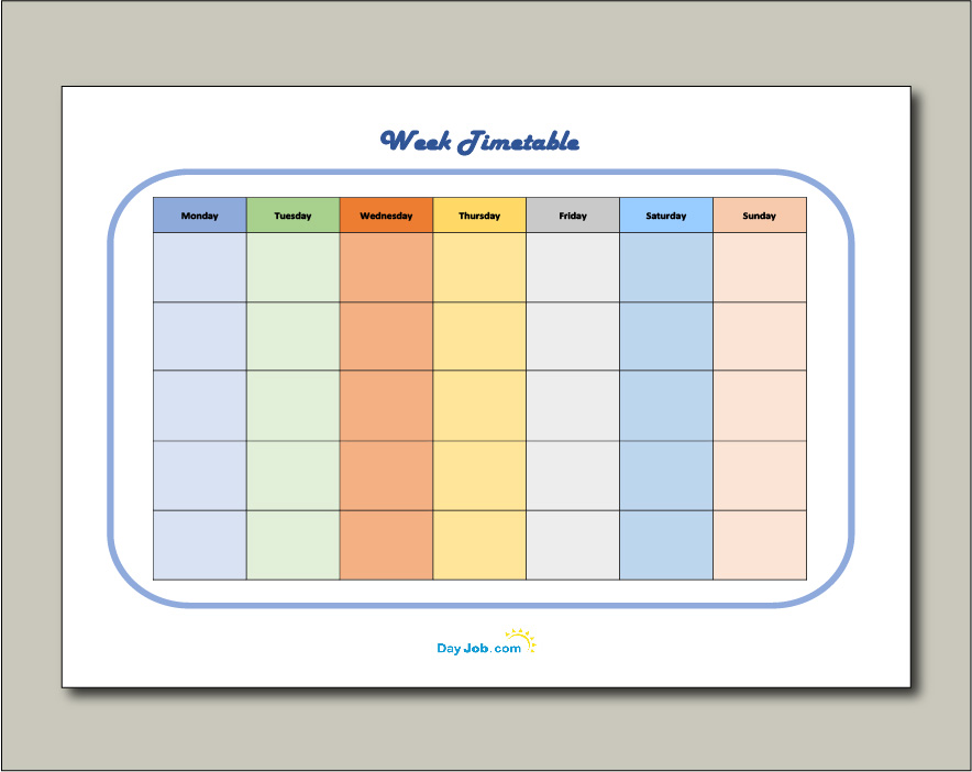 Revision timetable template 8