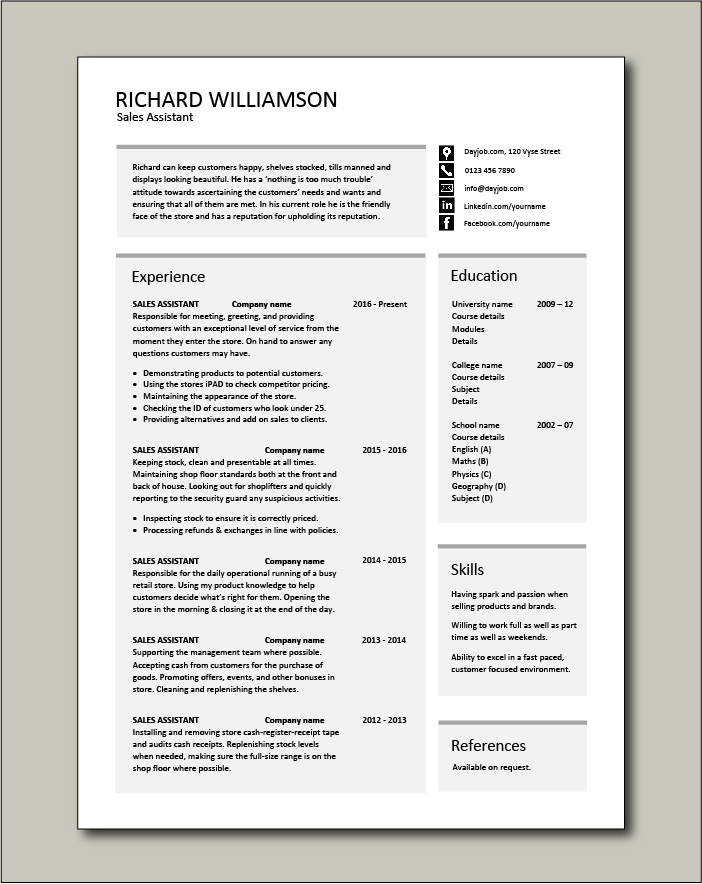 Sales Assistant CV template - 1 page