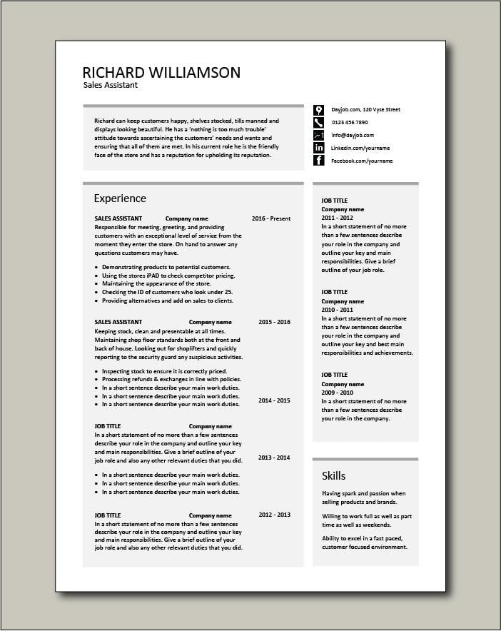 Sales Assistant CV template - 2 pages