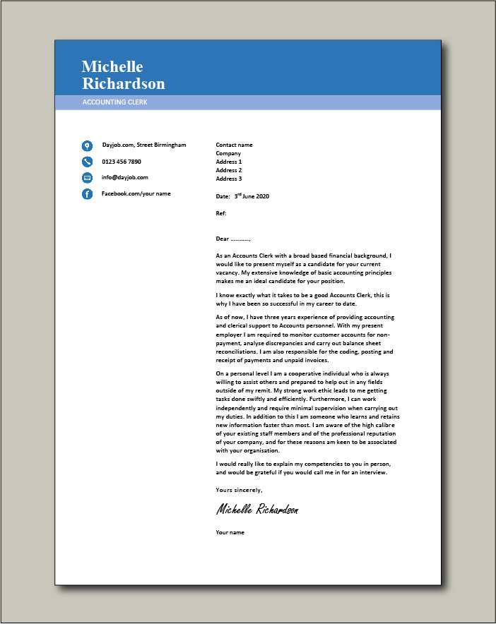 Sample Cover Letter For Accounting Clerk Perfect Portraits Most Important