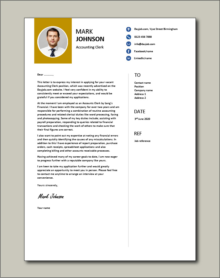 Accounting Clerk cover letter example 4