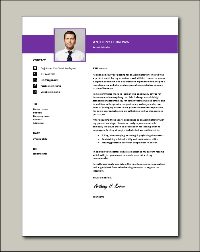 A professionally written administrator cover letter that ...