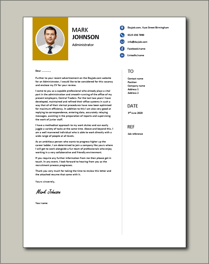 Administrator cover letter example 4