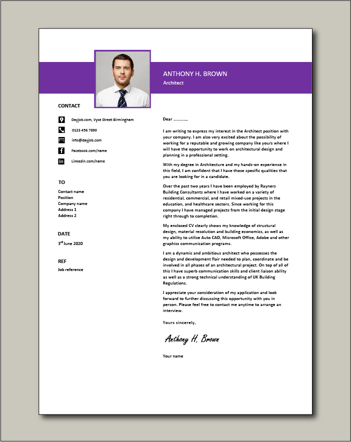 Architect cover letter example 1