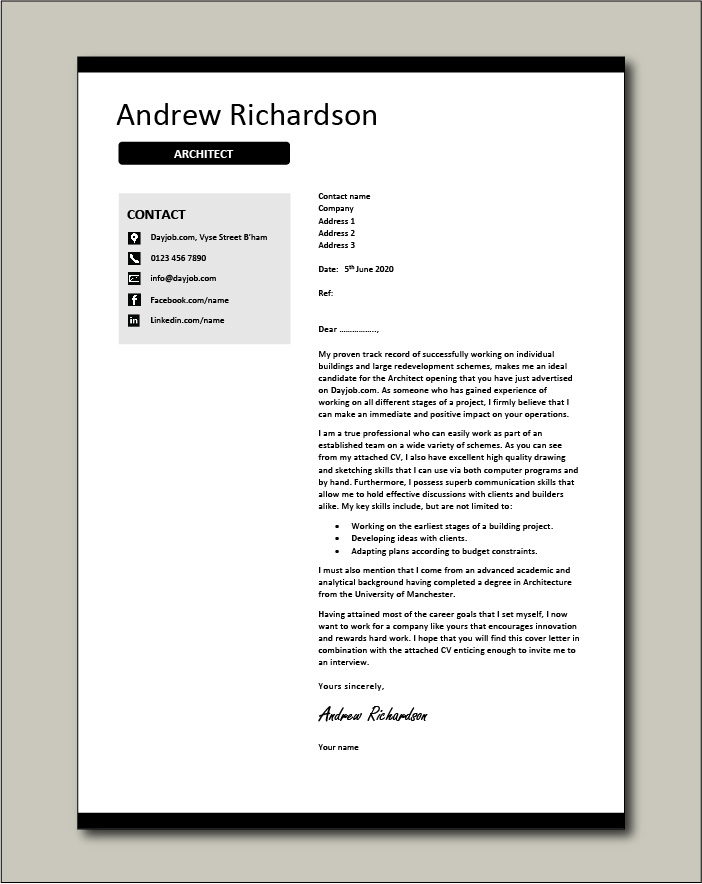 Architect cover letter example 2