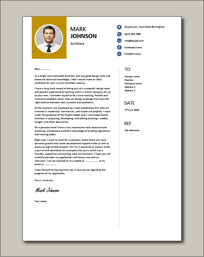 Architect cover letter example 4