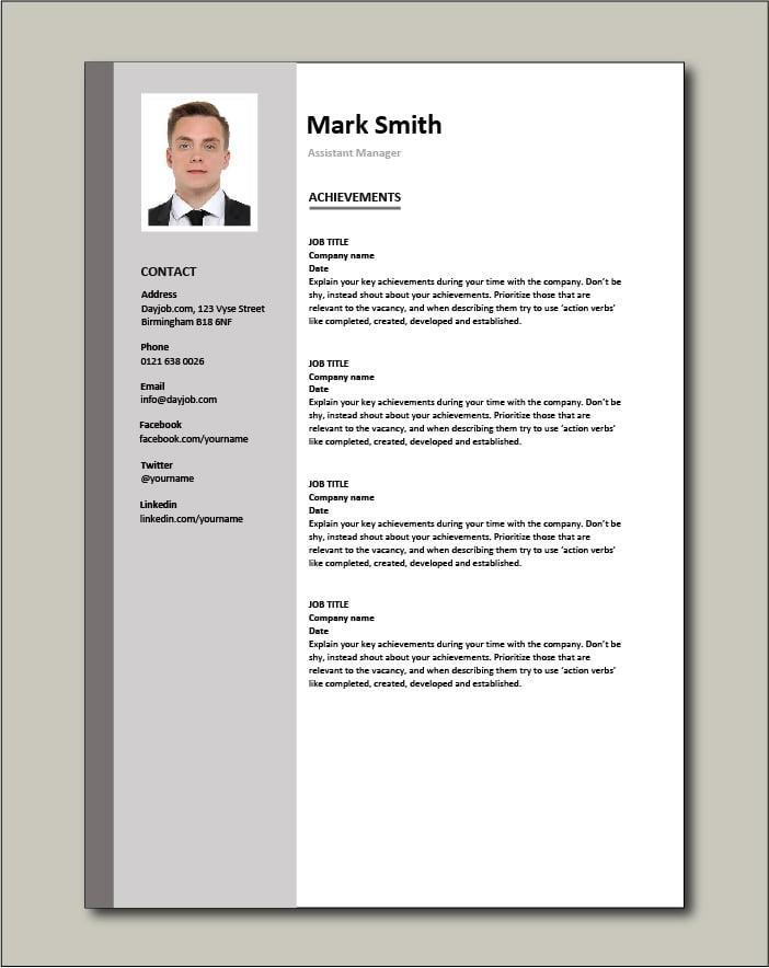 Assistant Manager CV - Achievements