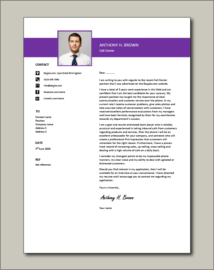 Call center cover letter example 1