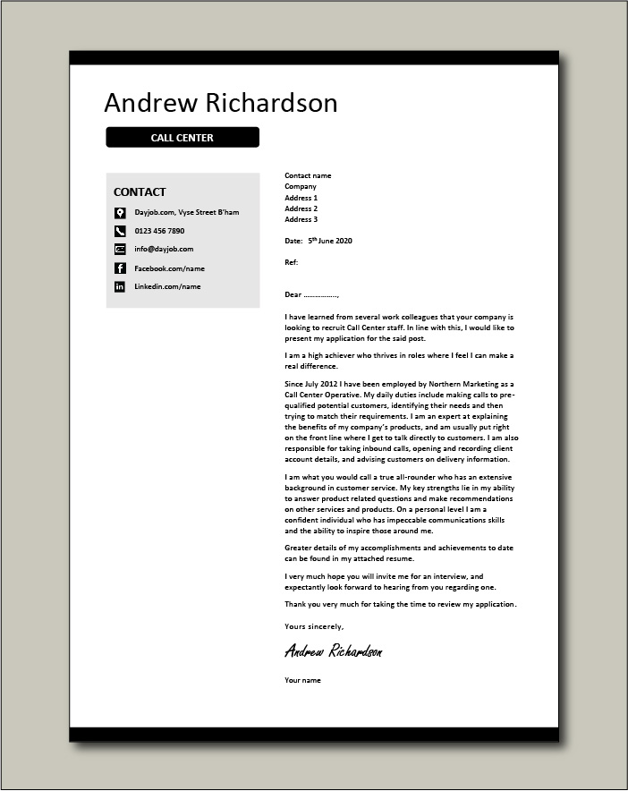 Call center cover letter example 2