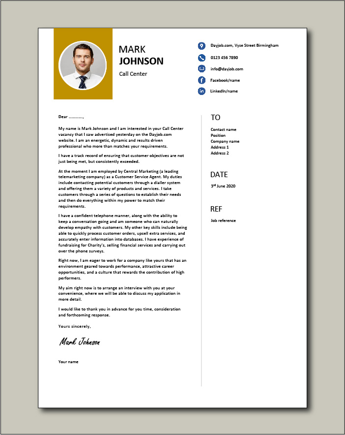Call center cover letter example 4
