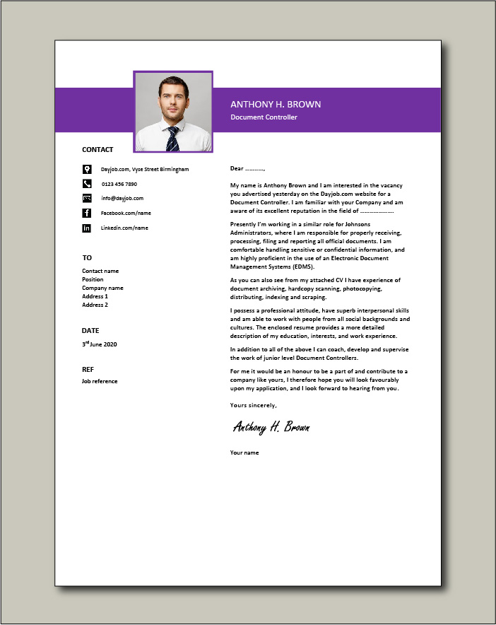 Document Controller cover letter example 1