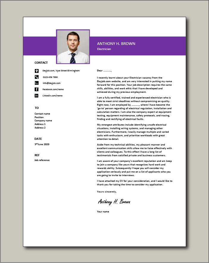 Electrician cover letter example 1