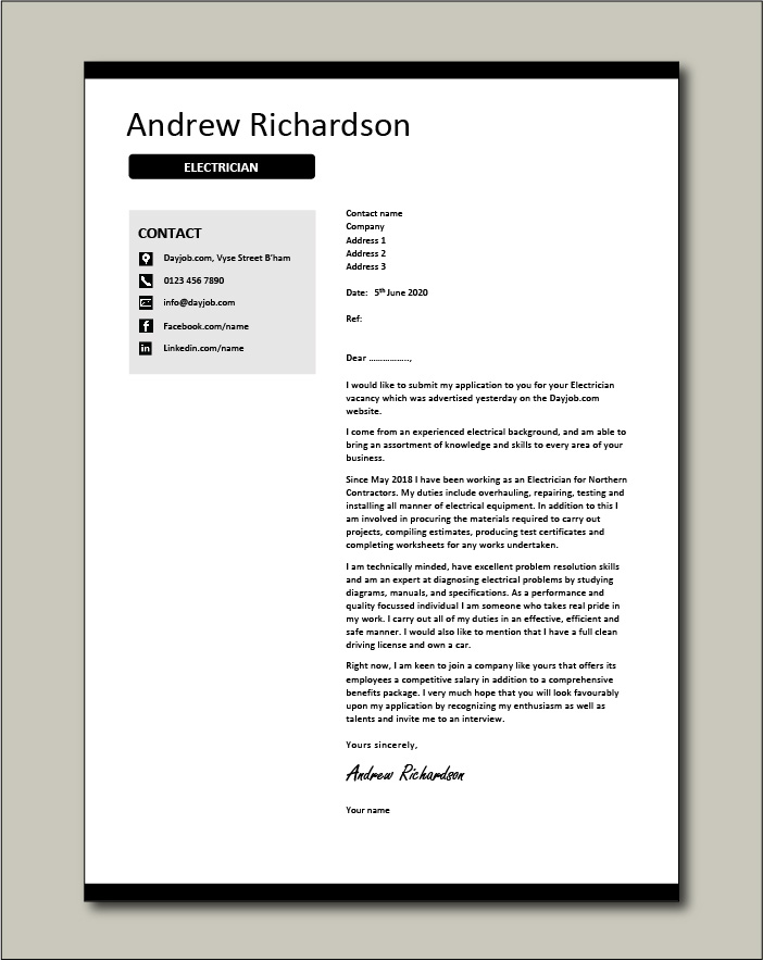 Electrician cover letter example 2